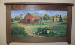 $24 Barn Tractor Country Scene Framed in Walnut