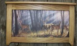 $24 Deer in Woods print Framed in Rustic Oak