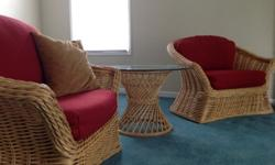 $250 Bamboo lounge chairs with coffee table