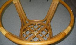 $250 Glass Round Table with Rattan Bamboo Base