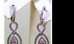 $250 Lady's Antique Long Style Sterling Silver Pink Sapphire