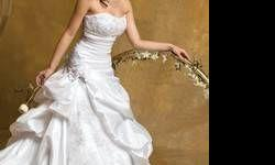 $250 Strapless Taffeta Wedding Dress with Beaded Lace - Size