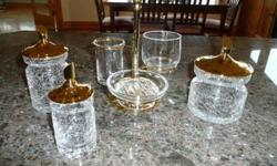 $25 6 Piece Glass Vanity Set with Gold Toned Lids & Holder