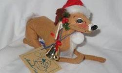 $25 Annalee Reindeer with Santa Hat Lying Down