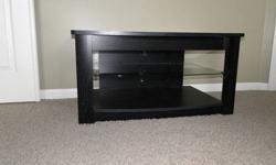 $25 Black & Glass Multi Shelf TV Stand with Ajustable Shelf