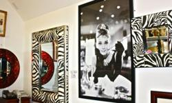$25 Zibra Mirrors W/ Matching Tables & Audrey Hepburn Framed