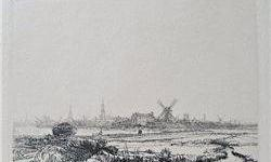 $260 Rembrandt VIEW OF AMSTERDAM FROM THE NORTHWEST Etching