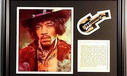 $264 Jimi Hendrix Giclee with mini guitar