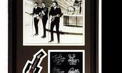 $264 The Beatles Giclee, mini guitar & engraved signatures