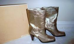 $265 Michael Kors New Frieda Gold Motorcycle Boots, sz 7.5