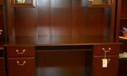 $299 Bush Saratoga Cherry Executive Credenza and Hutch