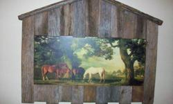 $29 Horses framed in rustic barn wood barn frame