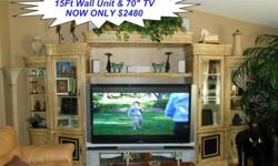 $2,480 Stunning Complete Entertainment Wall Unit and 70""
