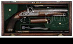 $2,500 Wilkinson Double Barrel Percussion Howdah Pistol in