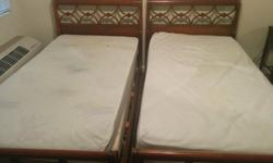 2 Mahogany Wood Twin Beds
