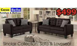 2 pc sofa set in chocolate sofa and loveseat