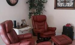 2 REN reclining leather armchairs