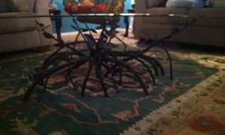 $300 Beveled glass top with copper base coffee table