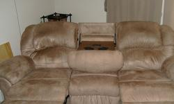 $300 Fenwick Mocha Dual Reclining Sofa with Massage