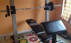 $300 Gold's Gym bench/squat/biceps/leg with weights, bar,