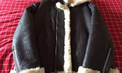 $300 Juicy Couture Brown Leather Fur Jacket