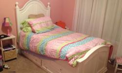 $300 White twin bed with trundle, mattress, and bunkie board