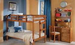 $325 Bunk beds w/mattresses, never used, heavy duty finish