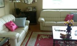 $325 OBO Leather sofa & loveseat, off-white color