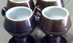$32 Four Vintage HALL POTTERY #2273 Brown Pedestal Coffee