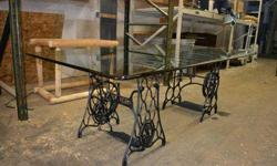$349 Beautiful 80x46 Glass Table Supported by Antique Sewing