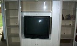 $350 beautiful larg entertainment center-white-with large tv