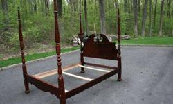 $350 Cherry 4 Post Queen Bed. Headboard, Footboard and Frame