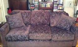 $350 Custom Brown Chenille Damask Couch Beautiful Like New