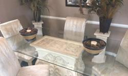 $350 Dining Room table and Chairs. Glass top w/ pedestal