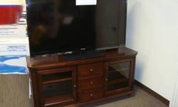 $350 Executive Camille Wide Wooden TV Stand w/Glass Doors -