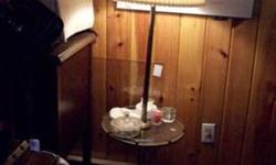 $35 Floor lamp with glass top table