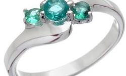 $35 Genuine Emerald Designer Ring Made of Solid 925 Sterling