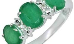 $35 Genuine Fashion Women's Emerald White Topaz Ring