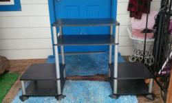 $35 OBO Lightweight Grey TV Stand with Open Black Shelving -