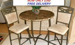 $360 Mocha Granite Style High Top Pub Table & Two Stools