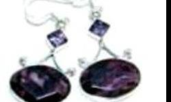 $36 Charoite & Amethyst Earrings