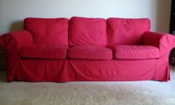 $375 OBO Comfortable Ikea Sofa with Red and Light Brown Slip