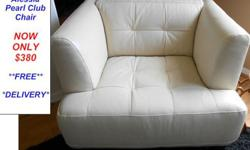 $380 Brand New Alessia Accent Club Chair in Pearl Leather