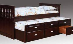 $380 Espresso or White ~ Twin/Twin Trundle Bed
