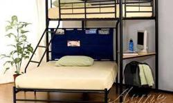$390 Twin Over Full Metal Bunkbed Set With a Study Desk