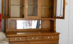 $3,700 Oak Dining Room Set - Hutch, Table, Chairs