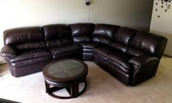 3 piece sectional leather sofa, with 2 recliners & bed +
