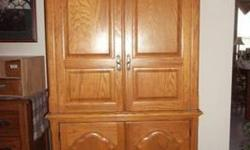 $400 Beautiful OAK Armoire T.V Entertainment Cabinet WITH