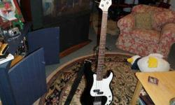 $400 Black Stargazer Electric Bass New Condition with Amp