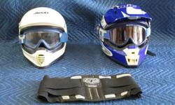 $40 2 motorcycle helmets and kidney belt